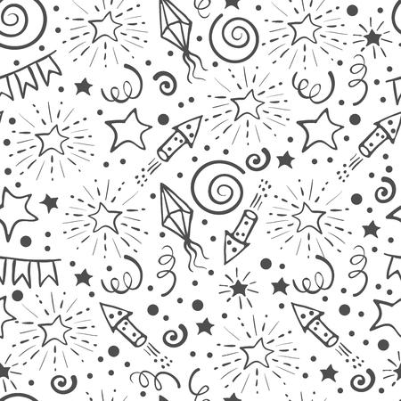 Modèle sans couture festive. Éléments de vacances doodle dessinés à la main. Fond noir et blanc. Illustration vectorielle