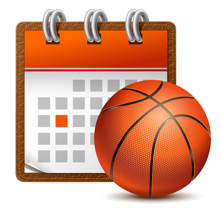 Detailed realistic sport calendar icon with metallic spiral and basketball ball. Vector illustration, isolated on white.