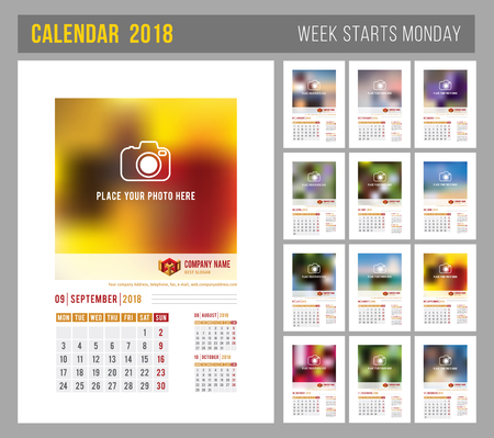 looseleaf: Design of wall monthly calendar for 2018 year. Print template with place for photo, your logo and text. Week starts monday. Portrait orientation. Set of 12 months. Vector.