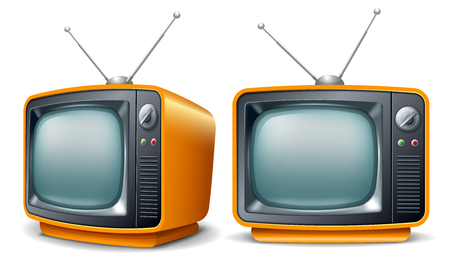 Retro television set. Front and perspective view. Vector realistic volumetric illustration.