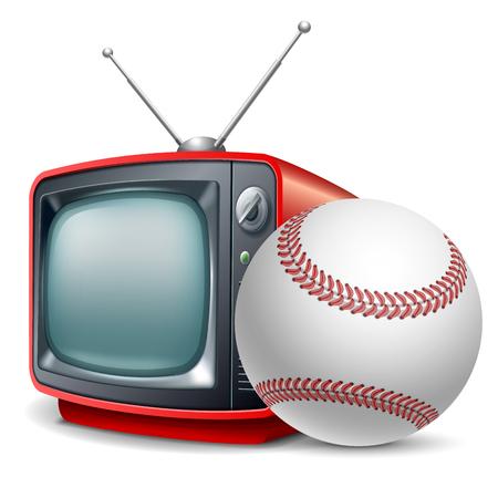 Baseball channel. Baseball ball and retro television. Vector realistic volumetric illustration. Isolated on white background. Illustration