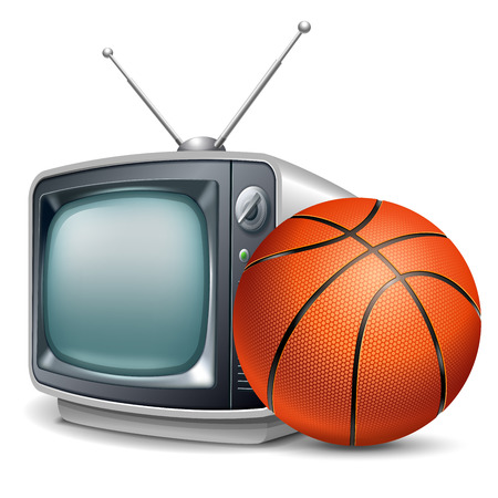Basketball channel. Basketball ball and retro television. Vector realistic volumetric illustration. Isolated on white background. Illustration