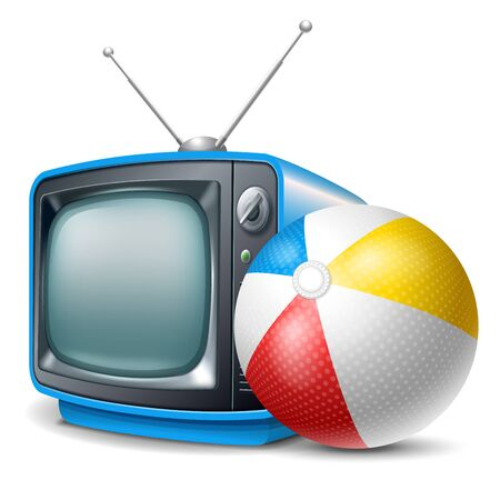 Travel channel. Beach ball and retro television. Vector realistic volumetric illustration. Isolated on white background.