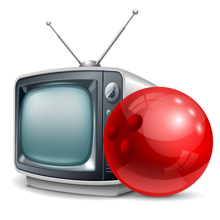 Bowling channel. Bowling ball and retro television. Vector realistic volumetric illustration. Isolated on white background.
