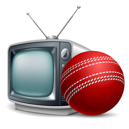 Cricket channel. Cricket ball and retro television. Vector realistic volumetric illustration. Isolated on white background.