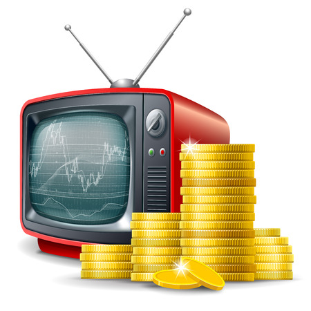 Business financial channel. Golden coins and retro television with forex trading chart. Vector realistic volumetric illustration. Isolated on white background. Illustration