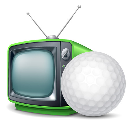 Golf channel. Golf ball and retro television. Vector realistic volumetric illustration. Isolated on white background.