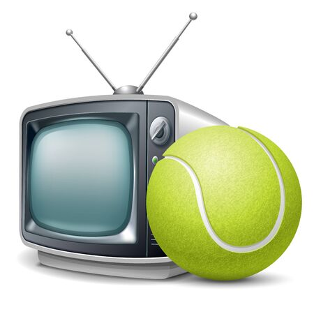 Tennis channel. Tennis ball and retro television. Vector realistic volumetric illustration. Isolated on white background.