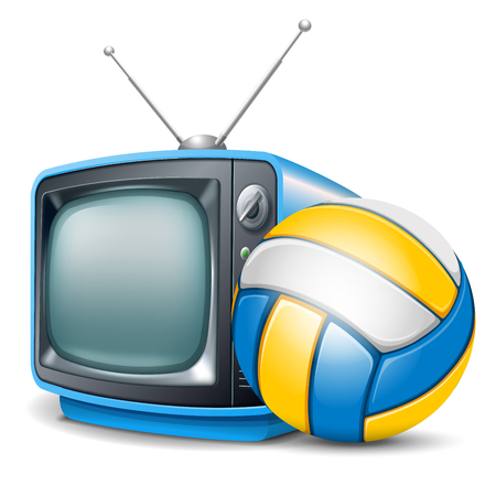 Volleyball channel. Volleyball ball and retro television. Vector realistic volumetric illustration. Isolated on white background.