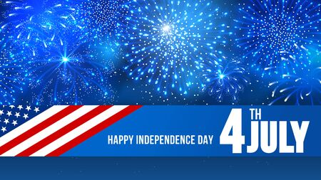 pyrotechnic: 4 July Independence day of United States of America  - festive vector cards with fireworks.