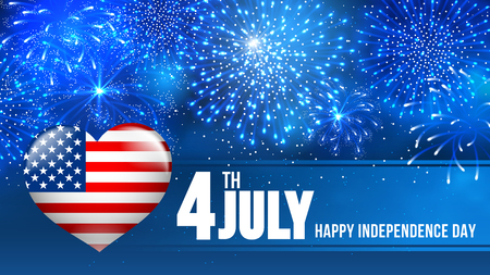 blue widescreen widescreen: 4 July Independence day of United States of America  - festive vector cards with fireworks.
