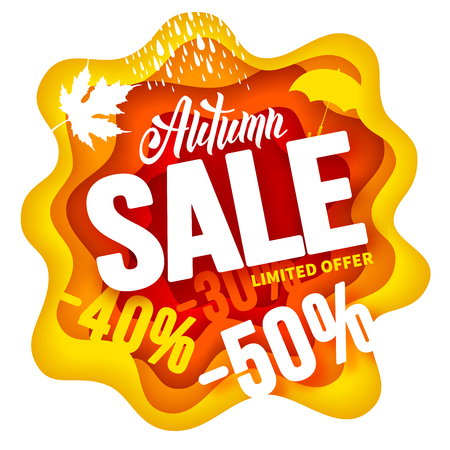 Seasonal autumn sale advertising design in paper art carving style. Lettering with calligraphic inscription Autumn. Vector stock illustration.