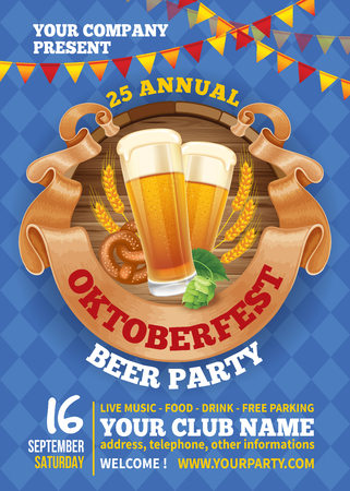Advertisement poster template of Oktoberfest beer party with different objects related with beer festival. Hand drawn doodle pattern on background. Vector illustration. Illustration