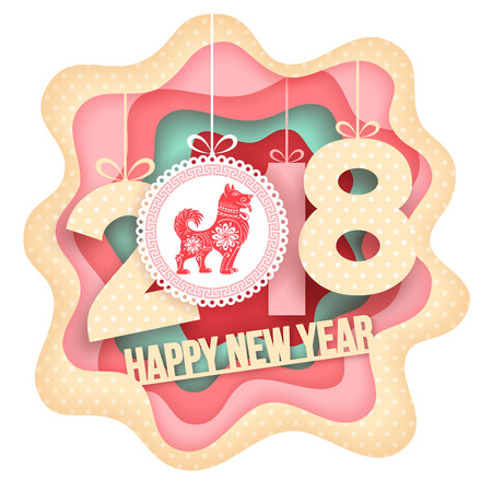 Paper art carving style design with digits 2018 and symbol of the year - dog. For your Christmas Flyers and Greetings Card. Vector illustration.