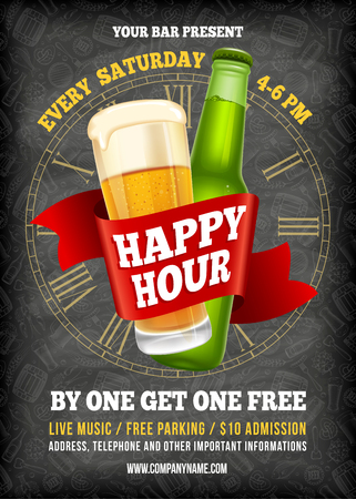 Happy Hour. Free beer. Vintage illustration template for web, poster, flyer, invitation to party. Vector stock illustration. Stock Illustratie