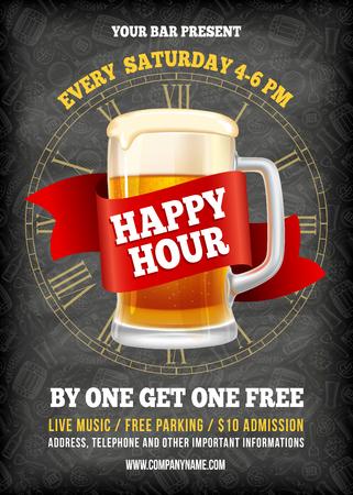 Happy Hour. Gratis bier. Vintage illustratie sjabloon voor web, poster, flyer, uitnodiging tot feest. Vector stock illustratie.