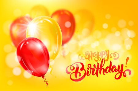 Festive background with red and yellow balloons. Calligraphy inscription Happy Birthday ! Blurred and bokeh effect. Vector illustration. Illustration