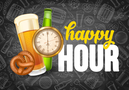 Happy Hour. Free beer. Vintage illustration template for web, poster, flyer, invitation to party.