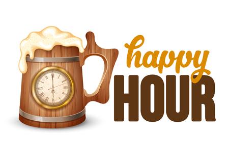 Ilustración vintage para web, cartel, invitación a la fiesta con taza de cerveza y reloj. Hora de beber letras de cerveza. Ilustración de vector