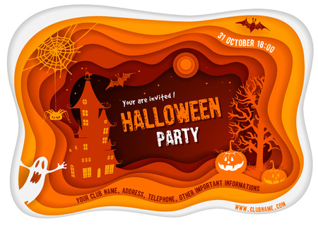 Halloween night background with pumpkin, haunted house and full moon. Paper art carving style. Illustration