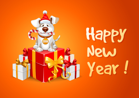 Cute cheerful cartoon dog, symbol 2018 year by eastern calendar with a many gifts and lettering.