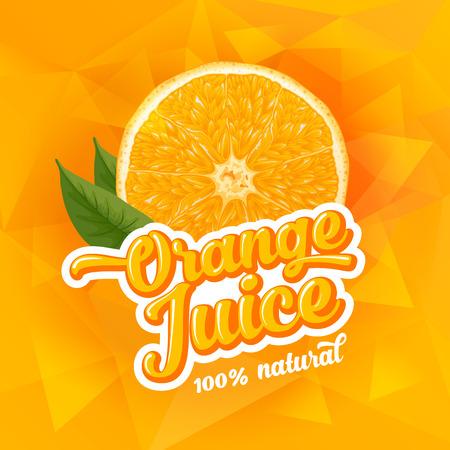 Natural orange juice label design template. Slice of ripe fresh fruit with text. Ilustração