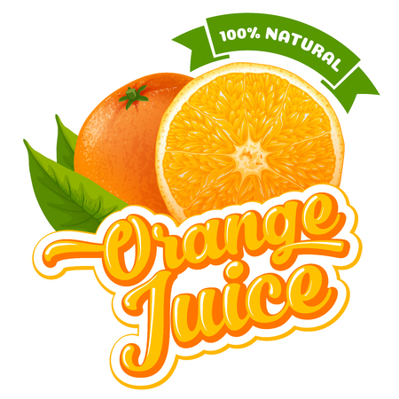 Natural orange juice label design template. Slice of ripe fresh fruit with text. Stock Illustratie