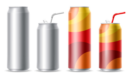 Set of realistic metallic cans for a beer or soft drink.