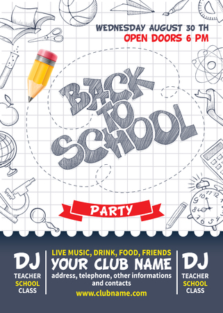 Back to school party poster template. Design with various educational equipments on list sheet.Vector illustration.