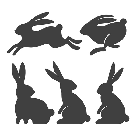 Stylized silhouettes of sitting and running rabbits