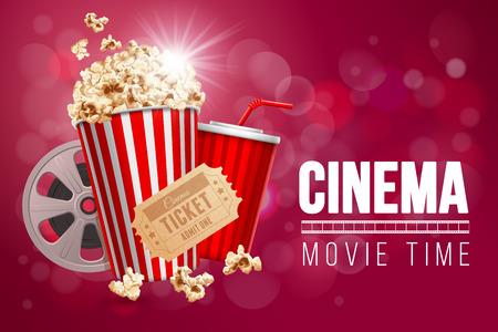 Cinema movie time banner. Stock Vector - 85934182