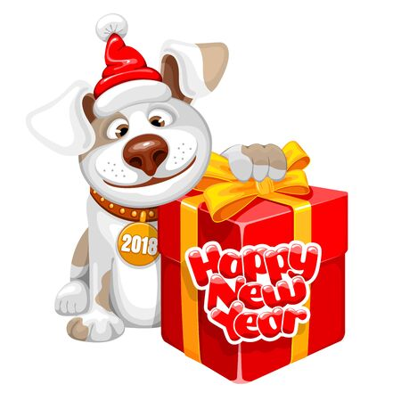 Happy dog for 2018 New Year banner.