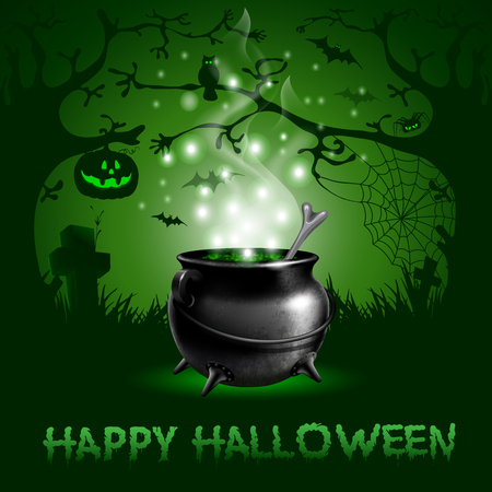 Halloween night background with magic potion in a cauldron Illustration