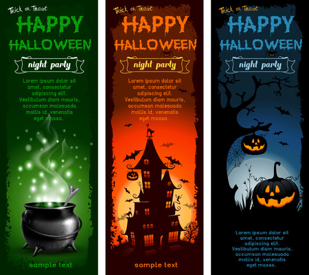 Set of Halloween night backgrounds with pumpkin, haunted house and magic cauldron Illustration
