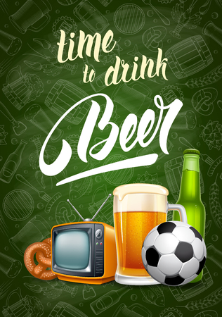 A vector illustration for web, poster, invitation to beer party or watching a sports match in the pub. Illustration