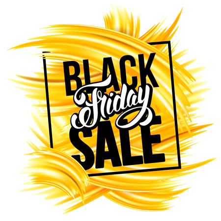 Black Friday Sale. Design of trendy and bright advertising layout on white background.