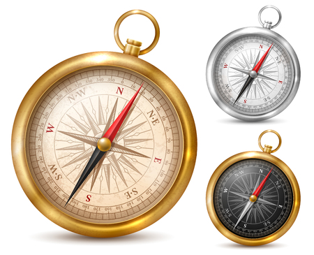 Vintage or retro style compass in shiny metal case. Set of different colored compasses Vector illustration Isolated on white background. Illustration