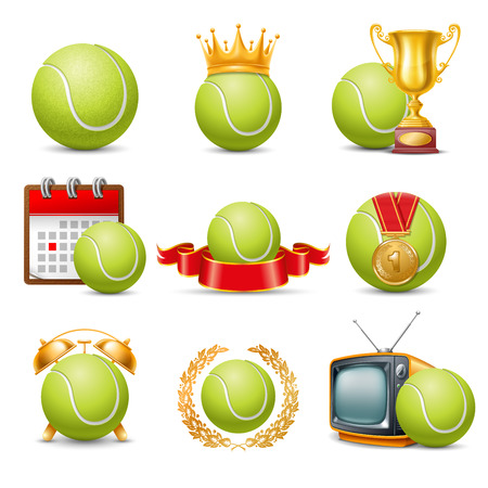 Tennis Ball icon set. Isolated on White Background. Vector Illustration