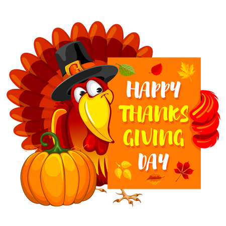 Thanksgiving greeting design with cheerful turkey, pumpkin and calligraphy inscription Happy Thanksgiving Day. Vector illustration.