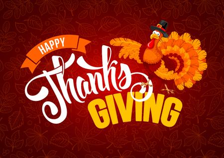 Disegno di saluto del ringraziamento con allegro tacchino e calligrafia iscrizione Happy Thanksgiving Day su sfondo rosso con motivo a foglie. Illustrazione vettoriale