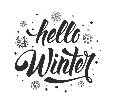 Hola inscripción de caligrafía manuscrita de invierno con copos de nieve. Elemento de diseño para invitación, tarjeta de felicitación, impresiones y carteles. Dibujado a mano la frase de inspiración de invierno. Ilustración vectorial