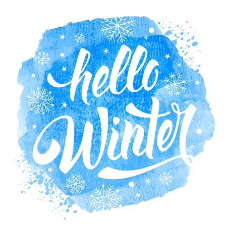 Hello Winter handwritten calligraphy inscription on blue watercolor background with snowflakes. Design element for invitation, greeting card, prints and posters. Hand drawn winter inspiration phrase. Vector illustration. Illustration