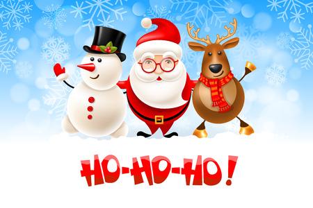 Merry Christmas Hohoho, vrolijke kerstset. Santa Claus, sneeuwman en rendier, vectorillustratie.