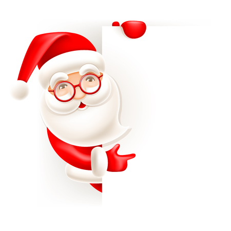 Cheerful cartoon Santa Claus and signboard with empty space for your text, vector illustration.