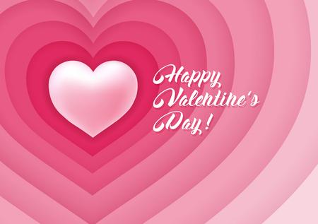 Valentines Day congratulation design with hearts, symbol of love.