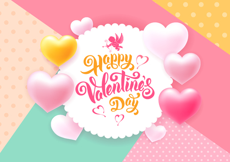 Valentines Day congratulation design with shiny and glossy hearts, symbol of love, cupids and calligraphic inscription on retro illustration.