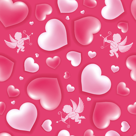 Valentines Day pattern with shiny and glossy hearts, symbol of love and cupids on pink illustration.