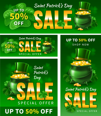 Saint Patricks Day sale. Cover and advertising banner templates set for popular social media web pages or any print productions. Standard size. Vector illustration.