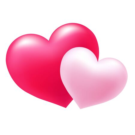 Two gentle pink hearts, symbol of love, excellent vector element for your design on Valentines Day.