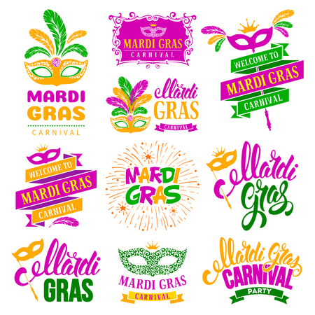 Mardi Gras Carnival festive typography labels set. Isolated on white background. Vector illustration.
